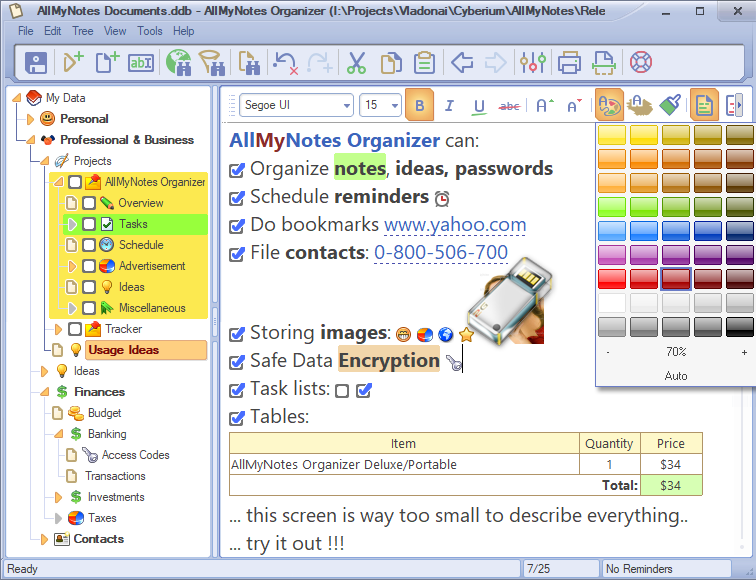 AllMyNotes Organizer Portable screenshot: memopad replacement,thoughts,text,notes,diary,diary,portable,,usb,study,knowledge,quotes,reference,safe password,word processing,evernote,book writing software,save prayers,keep notes,tree,brain storming,record,infoselect,access codes