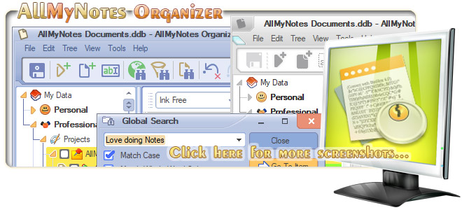 AllMyNotes Organizer - the best One Note replacement software - see more Screenshots