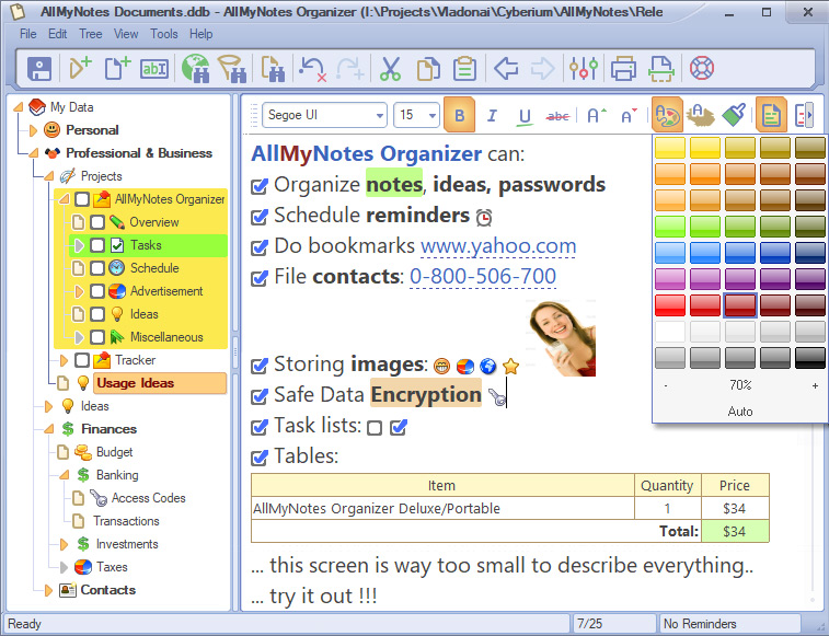 AlMyNotes Organizer consente di memorizzare note in cartelle virtuali in un file