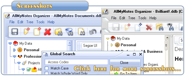 Click here for more All-My-Notes Organizer - the best KeyNote replacement application - screens