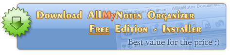 Download All My Notes Organizer Free Edition - the best personal info manager free software :)