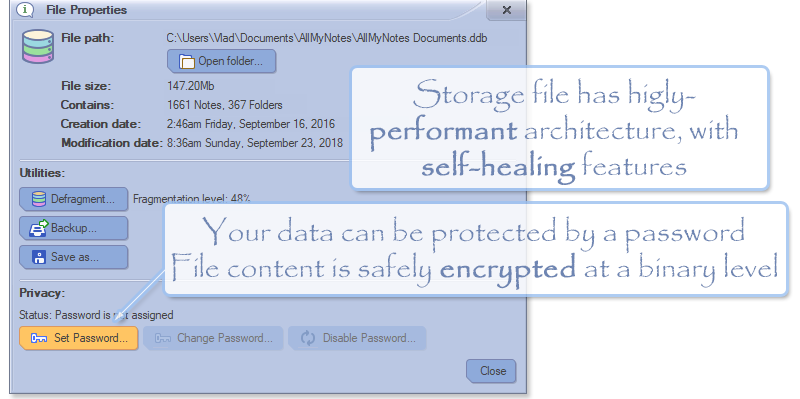Keep your documents in securely encrypted and blazing fast database - (AllMyNotes Organizer Screenshot)